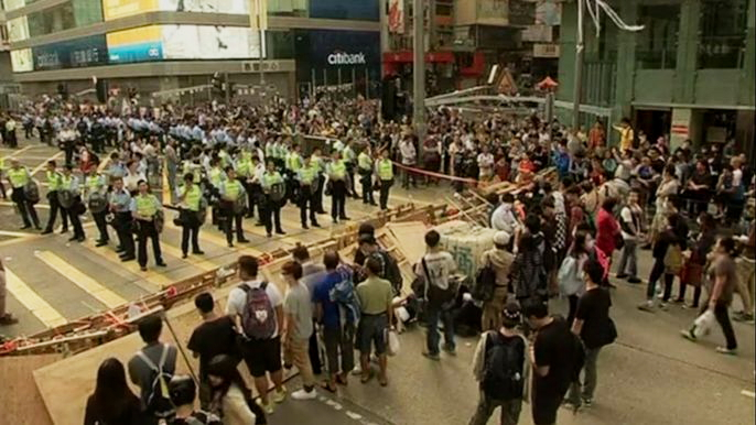 Противостояние в Гонконге набирает обороты. Скриншот видео.