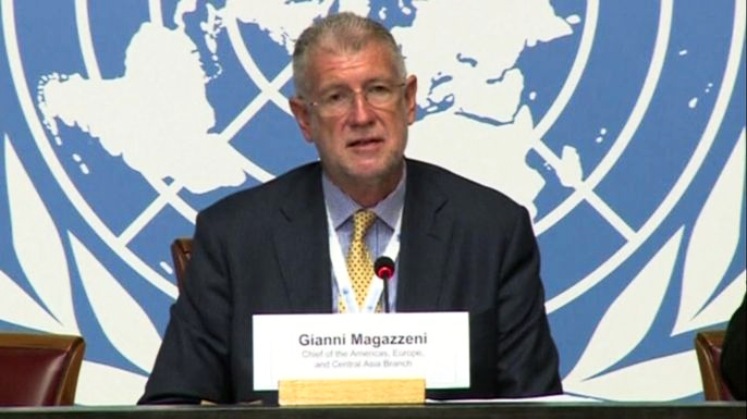 Джанни Магадзени, глава подразделения управления верховного комиссара по правам человека ООН по регионам Америки, Европы и центральной Азии. Скриншот видео.
