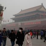 Площадь Тяньаньмэнь в Пекине во время сильного смога, 25 февраля, 2014 год. Фото: Lintao Zhang/Getty Images