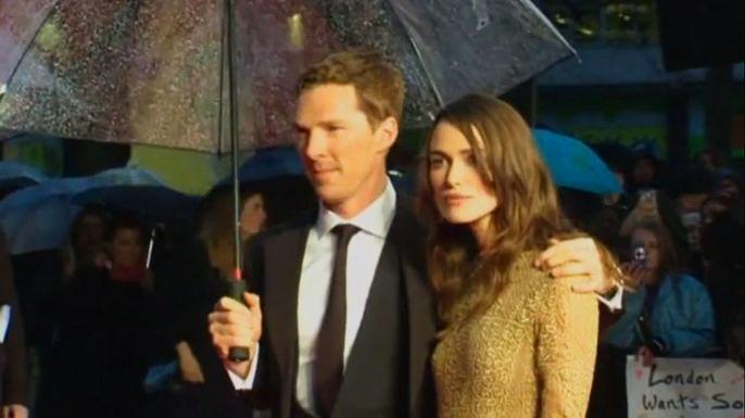 Ззвездами открытия Лондонского кинофестиваля стали Кира Найтли и Бенедикт Камбербэтч. Скриншот видео.