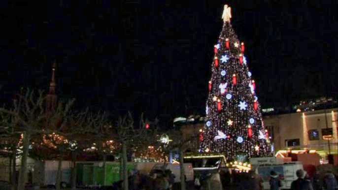 Праздничный символ высотой 45 метров собрали из деревьев поменьше и подсветили 48 тысячами лампочек. Скриншот видео.