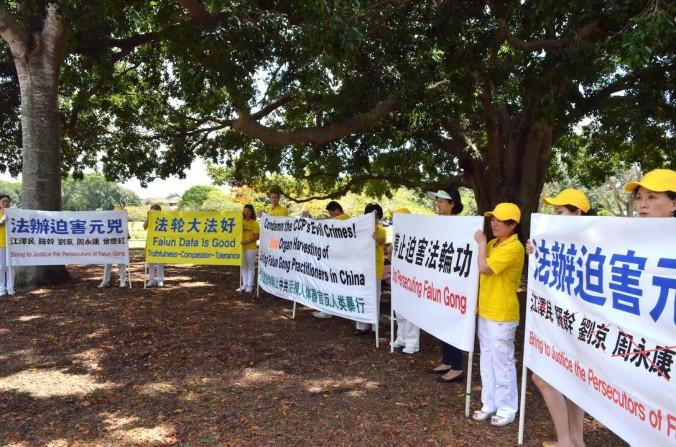 Последователи Фалуньгун держат плакаты, призывающие к прекращению репрессий приверженцев Фалуньгун в Китае. Брисбен, Австралия. В минувшие выходные они стояли на обочине дороги, по которой лидер Китая Си Цзиньпин проезжал из отеля к месту проведения саммита G20. Фото: Linda Smith/Epoch Times