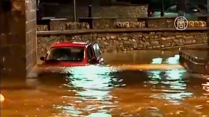 Несколько городов затопило рано утром.  Скриншот видео.
