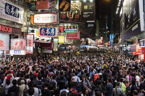 Продемократические протестующие собираются в Монгкоке 26 ноября 2014 года, Гонконг. Фото: Anthony Wallace/AFP/Getty Images