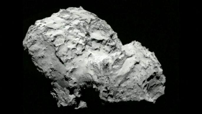 Спускаемый аппарат начнет изучать и анализировать окружающее пространство, делать снимки с поверхности кометы и передавать их на Землю. Скриншот видео.