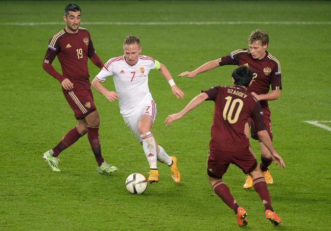 Матч российской сборной с командой Венгрии, Будапешт, 18 ноября, 2014 год. Фото: ATTILA KISBENEDEK/AFP/Getty Images