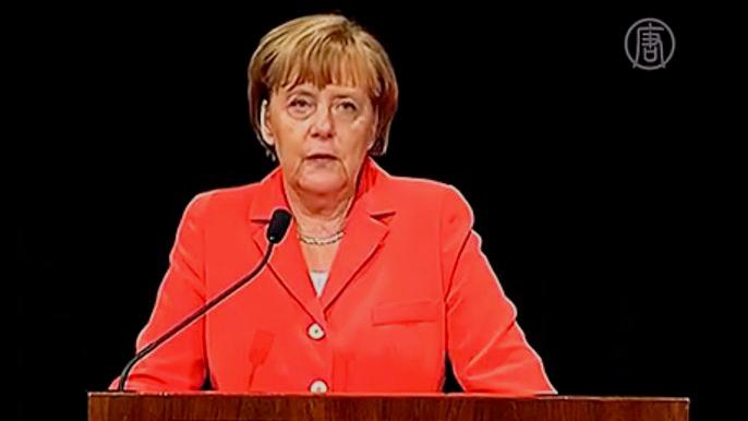 Меркель выступила сразу после окончания саммита «Большой двадцатки» в Брисбене. Скриншот видео.