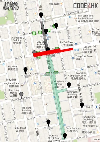 Карта очистки места протестов в Монгкоке по требованию суда, опубликованная в блоге hongwrongblog. Фото: theepochtimes.com