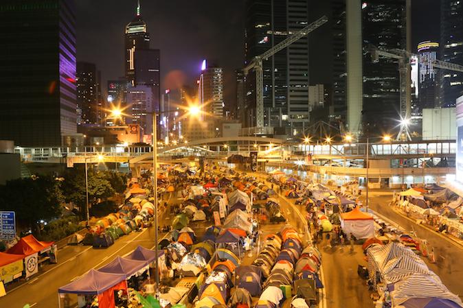 Лагерь протестующих в Гонконге 10 ноября 2014 года. Фото: Benjamin Chasteen/Epoch Times