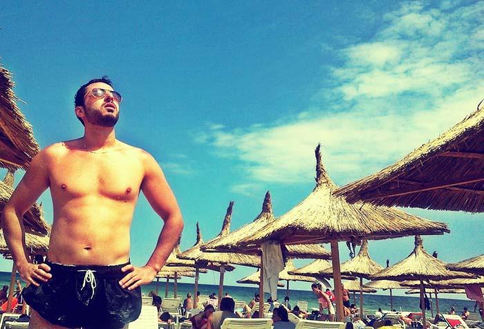 пляж, плавки, крем, загар, солнце, море, мужчина, очки