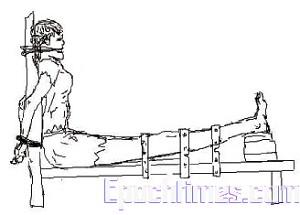 «Скамья тигра»: несколькими ремнями крепко привязывают ноги жертвы к скамье, одновременно подкладывают кирпичи под пятки до тех пор, пока ремень не порвётся. Человек при таких мучениях часто теряет сознание от боли и чувствует, что жизнь хуже смерти. Фото: Epoch Times