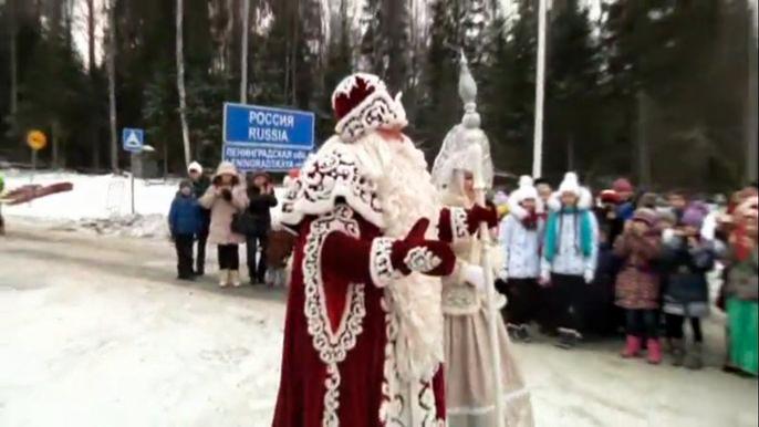 Дед Мороз и Йоулупукки встретились на российско-финской границе (видео)