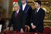 Президент Джорджио Наполитано с Президентом Совета Министров, Маттео Рензи, в церемонии присяги на Квиринале.  Фото: Palazzo Chigi/flickr.com