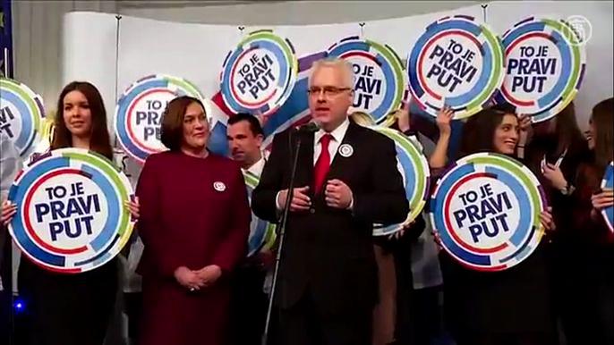На президентских выборах в Хорватии не победил ни один из четырёх кандидатов, поскольку никто не набрал необходимые 50% и один голос. Скриншот видео.
