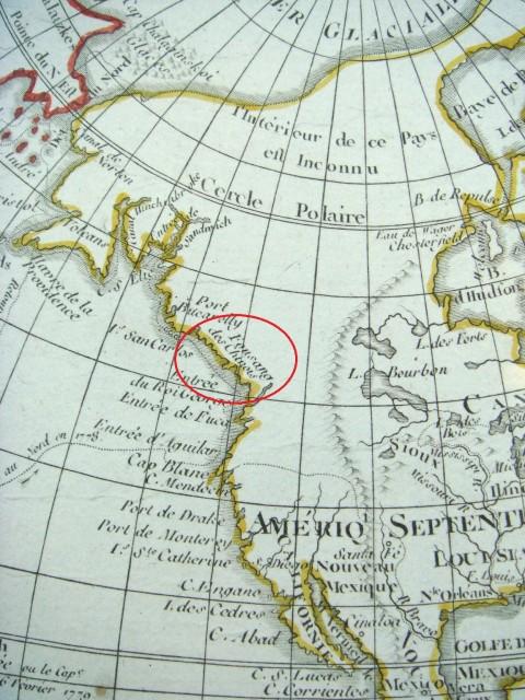 Упоминание Фусан нафранцузской карте мира 1792г. врайоне современной Британской Колумбии