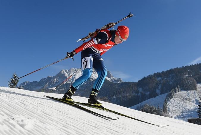 Российская биатлонистка Ольга Подчуфарова на дистанции 7,5 км на втором этапе Кубка мира в австрийском городе Хохфильцене, Австрия, 12 декабря, 2014 год.  Фото: Matthias Hangst/Bongarts/Getty Images