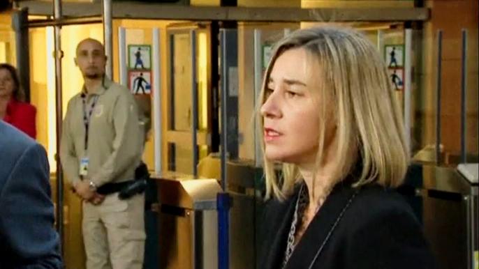 Представитель Евросоюза Федерика Могерини заявила во вторник, что считает решение суда политически мотивированным. Скриншот видео.
