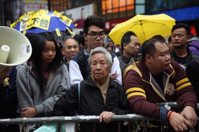 Протестующие в гонконгском районе Causeway Bay 15 декабря 2014 года. Фото: Isaac Lawrence/AFP/Getty Images