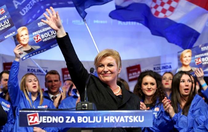 Победившая на выборах на пост президента Хорватии Колинда Грабар-Китарович, Хорватия, 11 января, 2014 год. Фото: STR/AFP/Getty Images