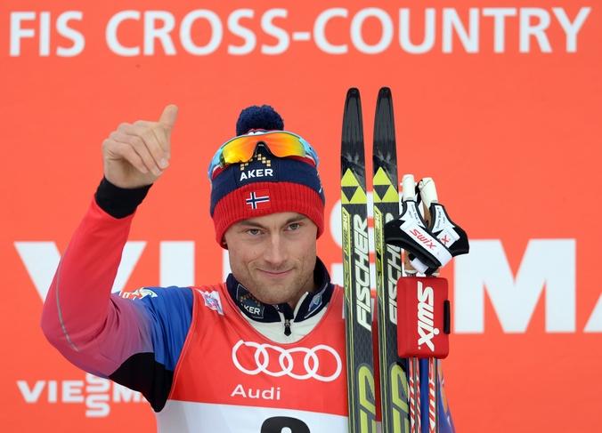Норвежский лыжник Петтер Нортуг, выигравший гонку преследования на лыжной многодневке «Тур де Ски» на этапе Кубка мира, Оберстдорф, Германия, 4 января, 2015 год. Фото: CHRISTOF STACHE/AFP/Getty Images