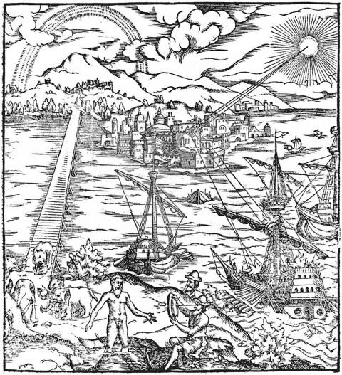 Иллюстрация, на которой Архимед поджигает римские корабли перед Сиракузами, используя параболические зеркала