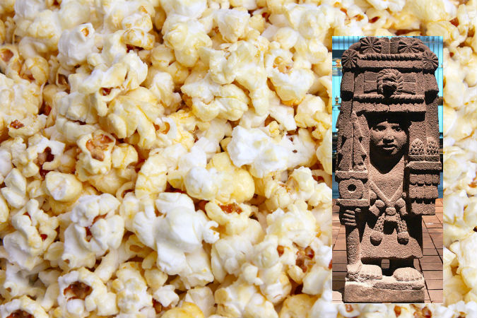 Богиня ацтеков Шилонен и попкорн, древнее лакомство.  Фото: Shutterstock*