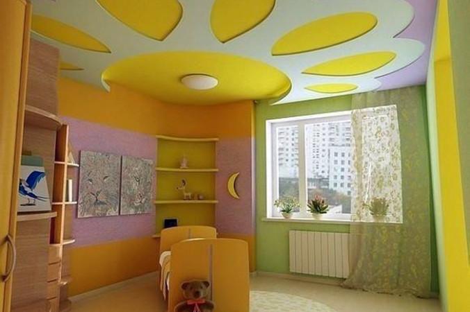 Потолок из гипсокартона в детской комнате (116 фото подвесной) 50