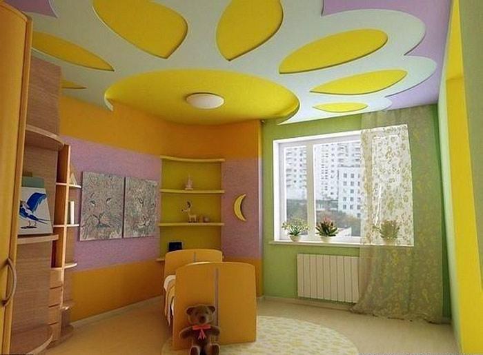 Дизайн потолка в детской. Фото: etotdom.com