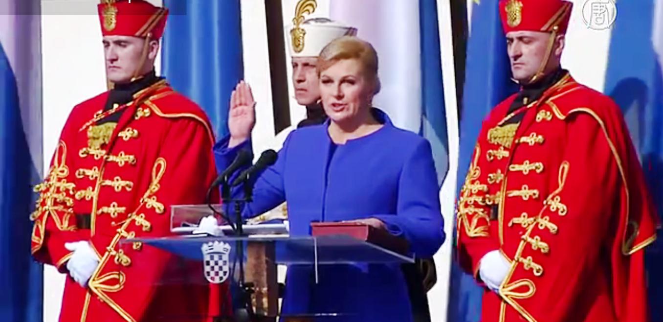 Колинда Грабар-Китарович 15 февраля принесла присягу на торжественной церемонии в Загребе. Скриншот видео