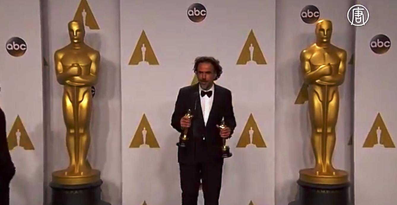 Главным триумфатором вечера стал фильм «Бёрдмэн». Скриншот видео: Телеканал  NTD