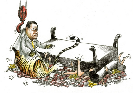 Карикатура на борьбу с «тиграми» в высшем руководстве компартии Китая. Рисунок с au.epochtimes.com