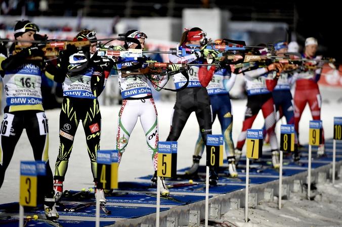 Женская эстафета на чемпионате мира по биатлону, Финляндия, 13 марта, 2015 год.  Фото: Vianney Thibaut/Agence Zoom/Getty Images