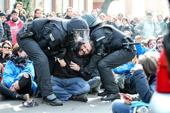Франкфурт-на-Майне, штаб-квартира Европейского Центробанка, Германия, акция протеста, Blockupy, столкновения