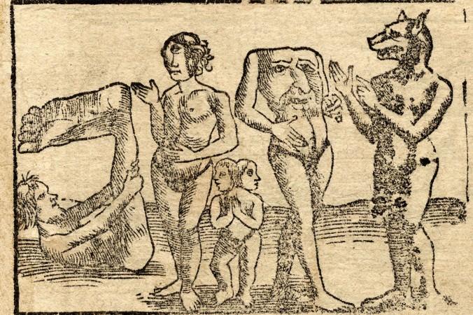 Гравюры Хенрика Петруса, 1544 г., слева направо: сциопод, женщина-циклоп, сиамские близнецы, блемии, кинокефал. Фото: Wikimedia Commons