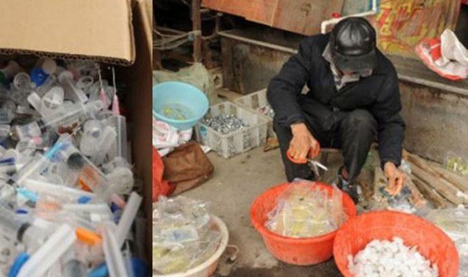 Опасный бизнес в Китае: переработка шприцов и нижнего белья