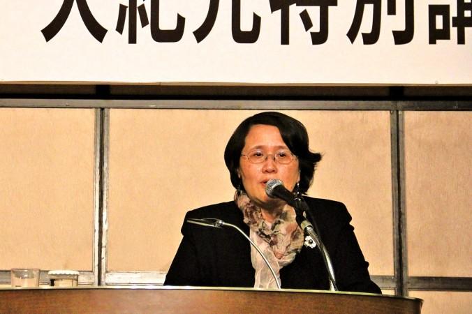 Президент гонконгского филиала Epoch Times, г-жа Го Цзюнь выступает с речью в Токио, Япония. Фото: Epoch Times