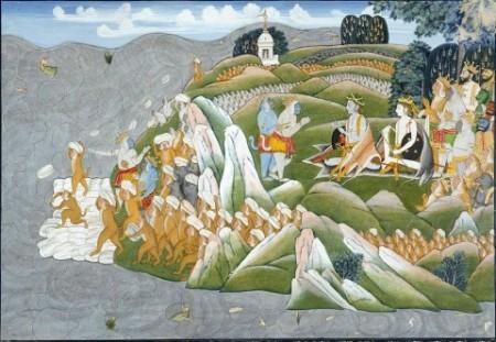 Иллюстрация легенды о строительстве Рама Сету (Адамова моста) армией обезьян