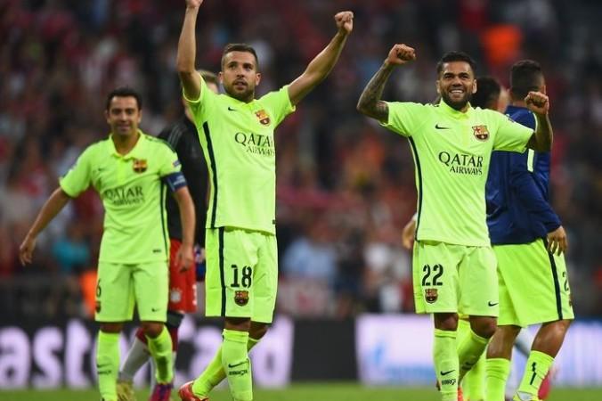 Фото: «Барселона» празднует выход в финал турнира Лиги чемпионов, Мюнхен, 12 мая, 2015 год. Фото: Lars Baron/Bongarts/Getty Images