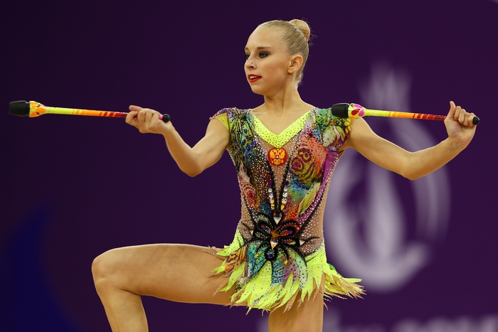 BAKU, AZERBAIJAN - JUNE 19:  Yana Kudryavtseva of Russia competes in the Rhythmic Gymnastics Inidivdual All-Around Final during day seven of the Baku 2015 European Games at the National Gymnastics Arena on June 19, 2015 in Baku, Azerbaijan.  (Photo by Michael Steele/Getty Images for BEGOC)
