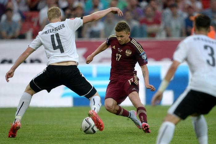 Отборочный матч Евро-2016 сборных России и Австралии. Фото: VASILY MAXIMOV/AFP/Getty Images