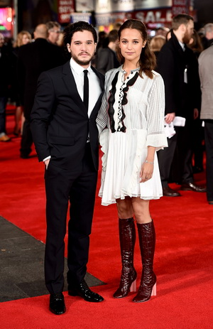 "LONDON, ENGLAND - JANUARY 05:  Kit Harington and Alicia Vikander attend the UK Premiere of ""Testament of Youth"" at Empire Leicester Square on January 5, 2015 in London, England.  (Photo by Ian Gavan/Getty Images)"