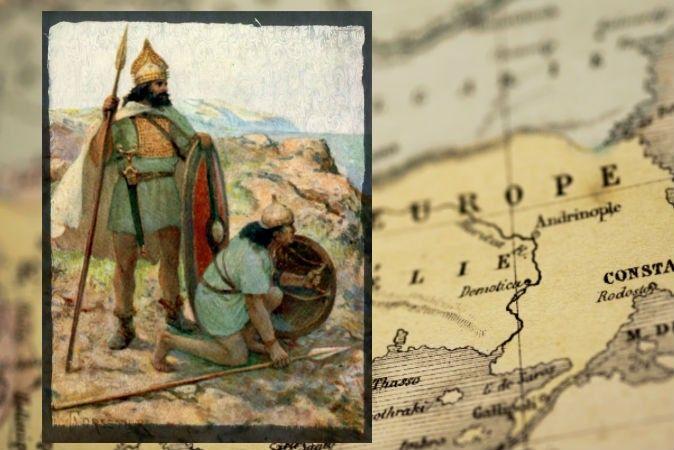 Слева: иллюстрация воина эпохи бронзового века. Фото: Mike Bishop/Flickr* Справа: карта Европы. Фото: Mstroz/iStock