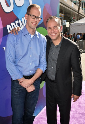 "HOLLYWOOD, CA - JUNE 08:  Director Pete Docter (L) and Producer Jonas Rivera attend the Los Angeles premiere of Disney-Pixar's ""Inside Out"" at the El Capitan Theatre on June 8, 2015 in Hollywood, California.  (Photo by Kevin Winter/Getty Images)"
