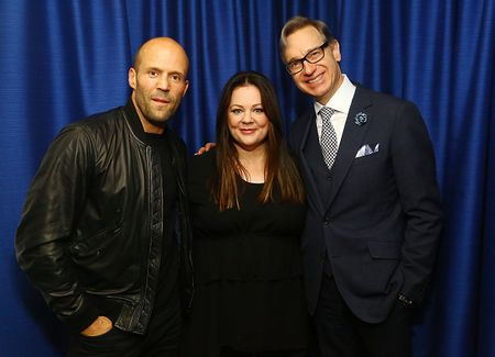 NEW YORK, NY - JUNE 01: (L-R) Actors Jason Statham and Melissa McCarthy poses for photos with director Paul Feig during SiriusXM's 'Town Hall' With Melissa McCarthy, Jason Statham And Paul Feig at the SiriusXM Studios on June 1, 2015 in New York City. (Photo by Astrid Stawiarz/Getty Images for SiriusXM)