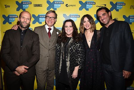 "AUSTIN, TX - MARCH 15:  (L-R) Actor Jason Statham, director Paul Feig, actress Melissa McCarthy, actress Rose Byrne and actor Bobby Cannavale arrive at the premiere of ""Spy"" during the 2015 SXSW Music, Film + Interactive Festival at the Paramount on March 15, 2015 in Austin, Texas.  (Photo by Michael Buckner/Getty Images for SXSW)"