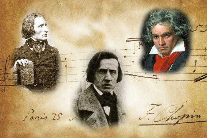 Слева: Ференц Лист в 1943 г. В центре: Фредерик Шопен, 1849 г. Справа: Людвиг ван Бетховен. На заднем плане: композиция Шопена с его автографом. Фото: Wikimedia Commons
