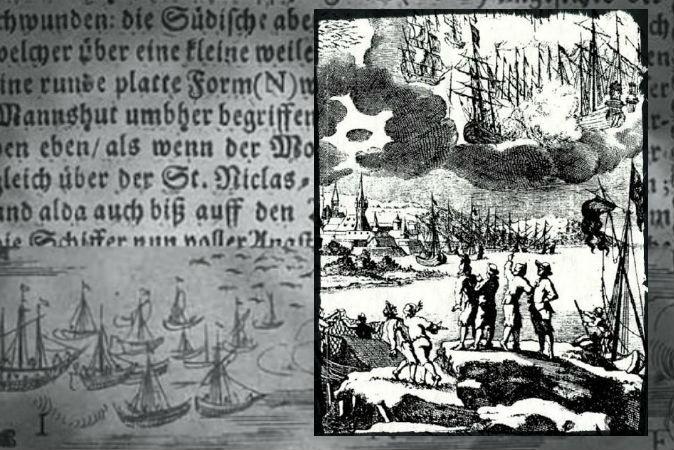 Справа: гравюра 1680 г. с примечанием Эразмуса Финкса, где описывается битва между кораблями в небе в 1665 г. На заднем плане: текст и изображение из книги «Иллюстрированное описание таинственных битв в небе над Штральзундом», 1665 г.