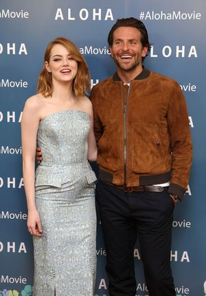 LONDON, ENGLAND - MAY 16:  Emma Stone and Bradley Cooper attend a VIP screening of 'Aloha' at Soho Hotel on May 16, 2015 in London, England.  (Photo by Tim P. Whitby/Getty Images)