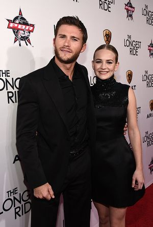 "HOLLYWOOD, CA - APRIL 06:  Actor Scott Eastwood (L) and actress Britt Robertson attend the premiere of Twentieth Century Fox's ""The Longest RIde"" at the TCL Chinese Theatre IMAX on April 6, 2015 in Hollywood, California.  (Photo by Michael Buckner/Getty Images)"