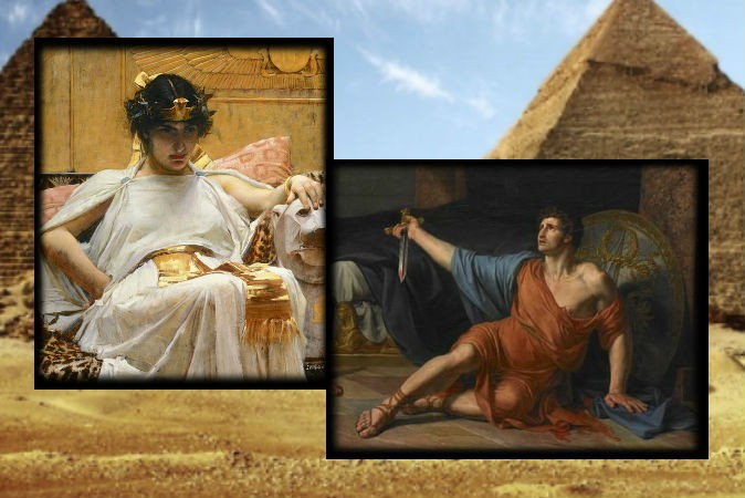 Слева: Картина Джона Уильяма Уотерхаус «Клеопатра», 1888 год. Справа: картина «Смерть Антония» Жан-Жерме́н Друэ́ Фото: Wikimedia Commons. Фон: Пирамиды Египта Фото: Redhouane/iStock